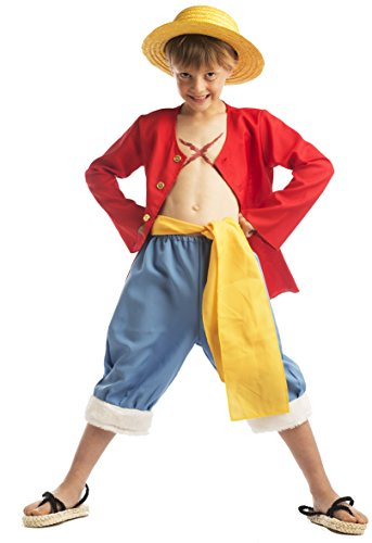 One Piece - 59196 - Déguisement Pour Enfant - Coffret Luffy Avec Chapeau - Marron - 5-7 Ans