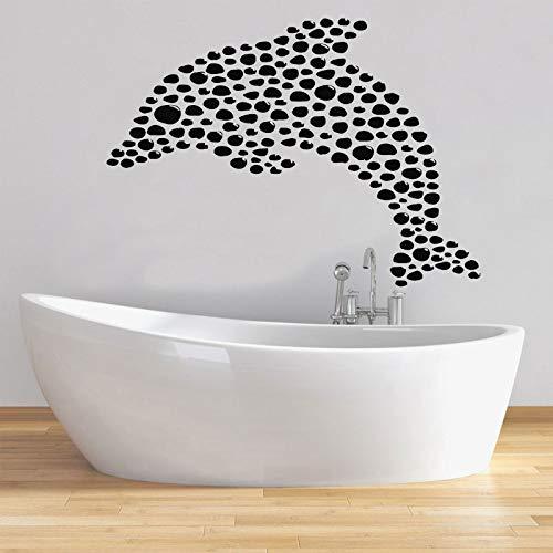 HNXDP Ozean Meer Delphin Vinyl Wandaufkleber Steuern Dekor Bad Fisch Aufkleber Zimmer Küste Dekoration Wandbild Abnehmbare Wasserdichte 58x42 cm