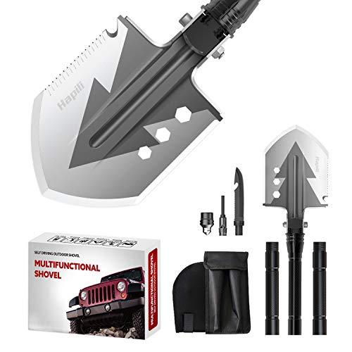 Hapili Survival Shovel, Tactical Shovel 76cm Manganese Steel Military Shovel, 16 All in Utility Shovel for Camping (Black)