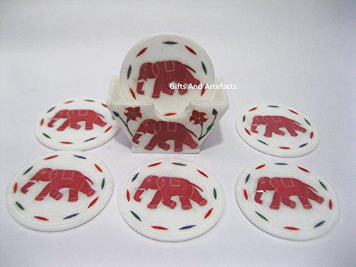 Tee-Untersetzer, rund, Marmor-Optik, Marquetry Art mit roten Jaspis, kann als Couchtisch-Accessoires verwendet werden, handgefertigt, aus Indien Untersetzer, Größe: 8,9 cm, Haltergröße 11,4 cm
