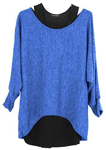 Emma & Giovanni - Damen Oversize Oberteile Tshirt/Pullover (2 Stück) / Made In Italy, M-L,  Elektrisches Blau