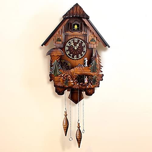 ZHJIUXING ST Reloj de Cuco, Hecho a Mano de Madera, Reloj de Cuco, casa Estilo árbol, Reloj de Pared, Estilo Vintage, decoración del hogar, B