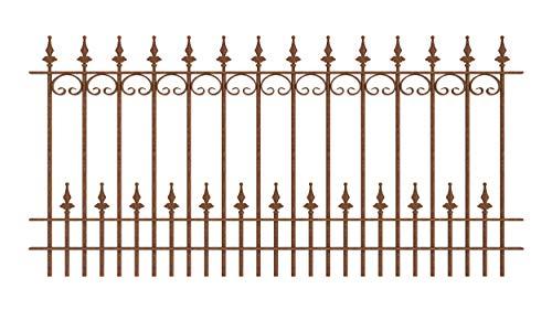 ELEO Gartenzaun Lucca I aus Schmiedeeisen - langlebig & witterungsbeständig I dekorative & hochwertige Zaun-Elemente - inkl. Schrauben I Länge 192,5 cm - unbeschichtet - Edelrost