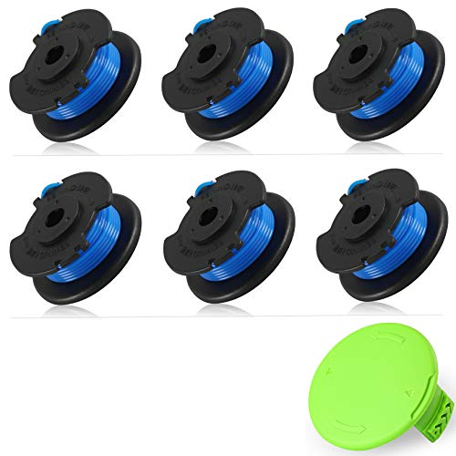 """Mrupoo Weed Eater Spool Compatible with Greenworks 24V 40V Single Line String Trimmers, Replacement Spool 29252-17FT/0.065"""" with Model 3411546A-6 Cap Cover (6 Spools and 1 Cap)"""