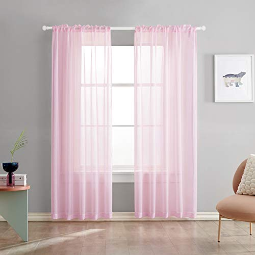 Baby Pink Semi Sheer Curtains 84 Inches Long Faux Linen Baby Pink Sheers Curtain for Bedroom Living Room Girls Kids Room 2 Panels 52x84