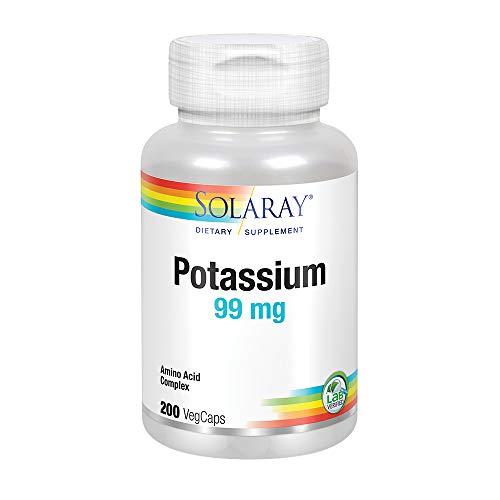 Solaray Potassium 99mg | Fluid & Electrolyte Balance Formula | Heart, Nerve & Muscle Function Support | 200ct, 200 Serv.