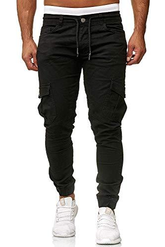 Cassiecy Herren Hosen Cargo Chino Jeans Stretch Jogger Sporthose Herren Hose mit Taschen Slim Fit Freizeithose, Schwarz, XL
