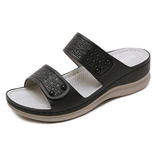 MNVOA Sandalias con Punta Abierta para Mujer Mules de Cuña Cómodas Pantuflas de Cuero Moda Plataforma Zapatillas de Verano Antideslizante,Negro,40 EU