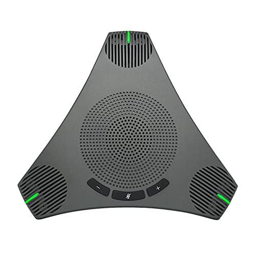 Explopur Speakerphone,USB Speakerphone Conference Microphone Omnidirectional Computer Mic 360° Voice Pickup with Mute Key for Skype/Video Conference/Online Course/Live Streaming/Gaming/Daily Chatting