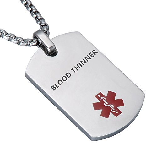 LiFashion LF Stainless Steel Blood Thinner Medical Alert Dog Tag ID Pendant Caduceus Necklace for Men Women Teens Health Alert Monitoring Systems,Silver
