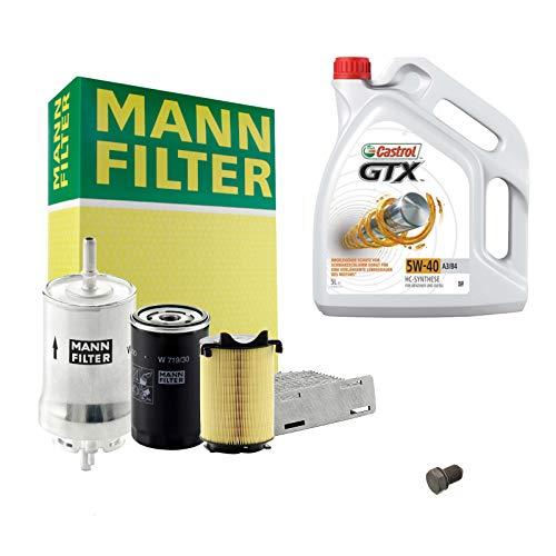 Inspektionspaket MANN-FILTER + 5L Castrol GTX 5W40 Filterset Service-Set SET P-H-05-00128 Service/Wartung