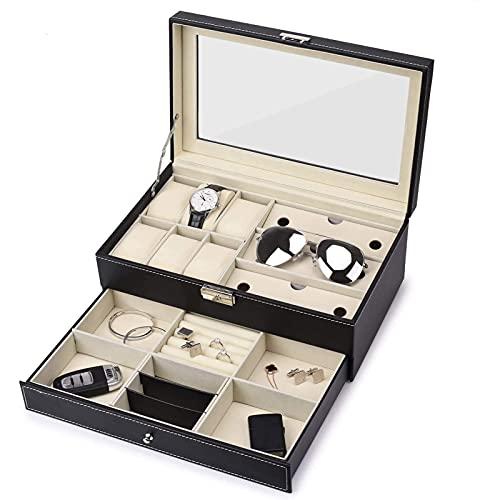 NNLX 6 Slots Watch Box Jewelry Organizer Lockable Sunglass Mostrar Caja con Piel de imitación Negra, Negro