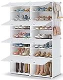 Shoe Rack, 7 Tier Shoe Storage Cabinet 28 Pair Plastic Shoe Shelves Organizer...