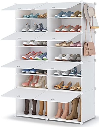 Shoe Rack, 7 Tier Shoe Storage Cabinet 28 Pair Plastic Shoe Shelves Organizer for Closet Hallway Bedroom Entryway