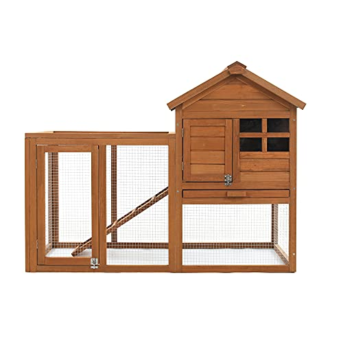 """Rabbit Hutch, 48"""" Rabbit Cage Outdoor with Pull Out Tray , Bunny Hutch for Small Animal and Guinea Pig Cage"""