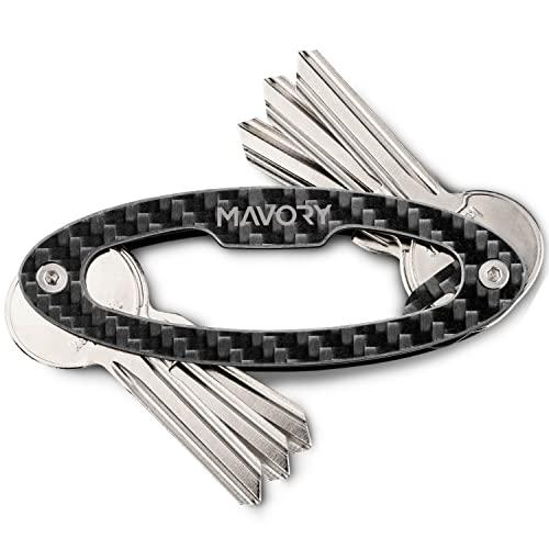 Mavory® Key Organizer Carbon Schlüssel Organizer I Schlüsseletui Herren und Damen für 1-14 Schlüssel I Schlüsselhalter in Geschenkbox handmade in DE