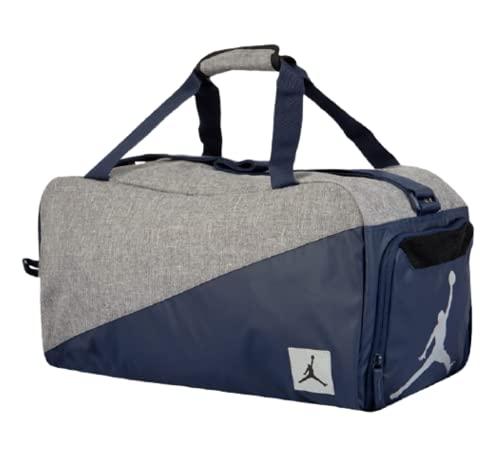 Nike Air Jordan Jumpman Duffel Sports Gym Bag 8A0083 Wet Dry Shoe Pocket Water Resistant (Gray/Navy Blue)