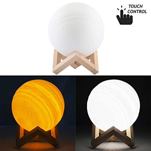 Night-Lights Creative 15cm Touch Control 3D Print Jupiter Lamp, USB Charging 2-Color Changing Energy-Saving LED Night Light with Wooden Holder Base