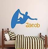 Personaliza y Personaliza Cualquier Nombre Pegatinas de Pared de Surf Extremo niño Dormitorio niños habitación Art Deco Cool Vinilo Mural de Pared