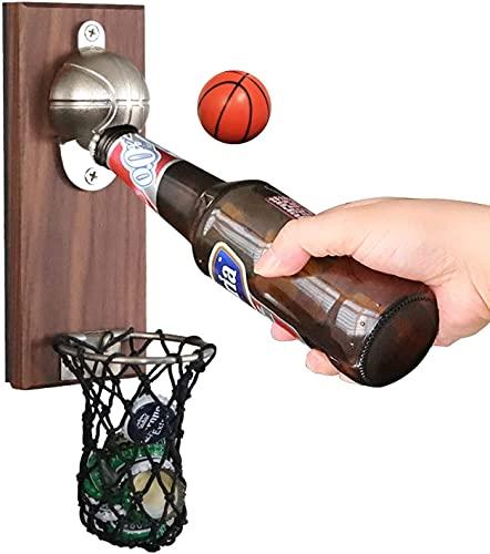 Abrebotellas magnético para nevera, diseño de baloncesto, cerveza, montaje en pared, abridor de botellas de madera para el hogar, bar, decoración, regalo
