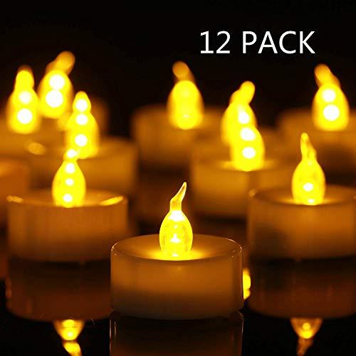 Biyanuo LED Teelichter,12 Stück LED Kerzen CR2032 Batterie betrieben Kerzen flammenlose Teelicht,Weihnachten Hochzeit oder anderen Gelegenheiten weit verbreitet sein(warmes Gelb 12 pcs)