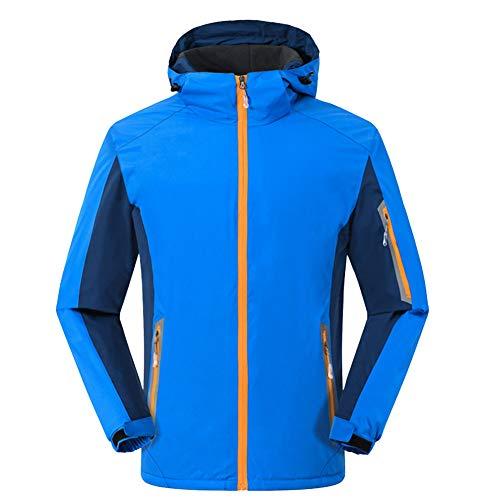 Hombre/Mujer A prueba de viento Impermeable Color sólido Abrigo de invierno Espesar Al aire libre Chaquetas térmicas de lana Cortavientos de montaña Parka resistente al agua con capucha s Azu XL