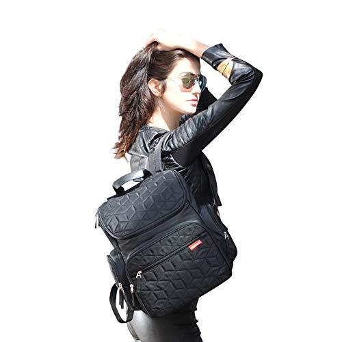 【ベビーアムール】Bebamourマザーズリュックマザーズバッグ3wayバックパック防水多機能大容量保温ポーチとメッシュポーチ付オムツ替え用シート付ファッション(ブラック)