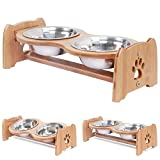 X-ZONE PET Raised Pet Bowls for Cats and Dogs, Adjustable Bamboo Elevated Dog Cat Food and Water Bowls Stand Feeder with 2 Stainless Steel Bowls and Anti Slip Feet (Height 5.1')