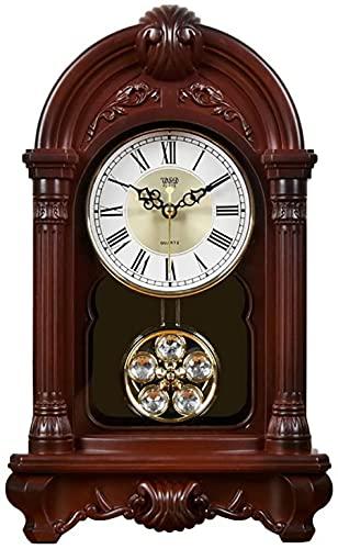 qwert Mesa De Reloj De Chimenea Manta Escritorio Péndulo Relojes De Péndulo Antiguo Hogar Decorativo Mute Habitación Decoración Regalos Creativos, Relojes De Número De Batería,Red~Brown Wood Grain