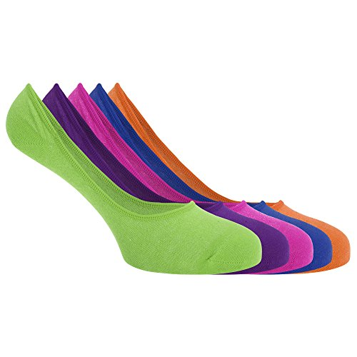 Soho Collection - Socquettes invisibles (5 paires) - Homme (41-46 FR) (Bleu/Rose/Violet/Orange/Vert)