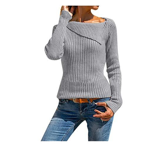 GOKOMO Frauen Langarm einfarbig unregelmäßiger Revers Pullover Top Pullover(Grau,Medium)