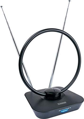 SCHWAIGER -20365- Antena DVBT-2 de interior con amplificador | máxima fuerza de la señal | integ. Filtro de corte LTE | para la recepción de DVB-T DAB+ y FM | conexión con el receptor DVBT-2 y la TV