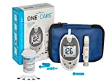 ONE-CARE™ Diabetes Testing Kit: Blood Glucose Monitor System with Blood Sugar Meter, 10 Blood Test Strips, Lancing Device, 10 Lancets, Carrying Case - Glucose Monitoring Kit with Glucometer and Strips