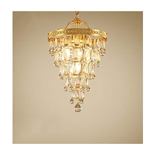 Lámpara de cristal de estilo americano de cobre para salón, dormitorio, techo, restaurante, creativa, sala de estudio, hotel, simple luz colgante