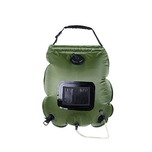 VORCOOL 20L solaire sac de douche de camping avec tuyau détachable et interrupteur marche-arrêt tête de douche pour la randonnée en plein air escalade sac à dos (vert armée)