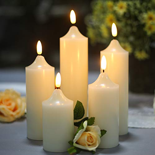 YASENN LED Candles Battery Operated Set of 5,Flameless Candles with Remote Control Timer and dimmable Warm White Flickering Jumping Flame Realistic Candles Christmas Wedding Party Home Decorations