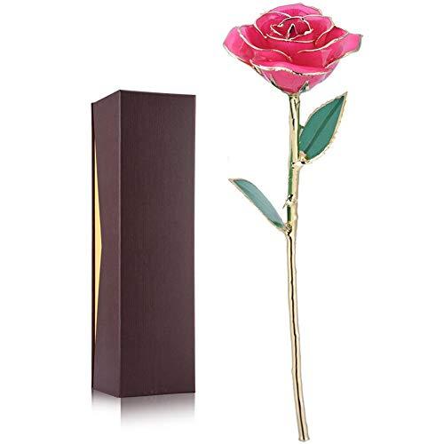 24 karaat gouden roos in geschenkverpakking (roze), 11-12 inch handgemaakte roze rozen, 24 karaat roze liefde voor altijd, beste cadeau voor vrouwen, Kerstmis, Valentijnsdag, verjaardag, jubileum