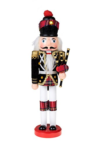"Clever Creations Scottish Soldier Nutcracker Wearing Scottish Outfit and Plaid Hat | Festive Collectable Christmas Decor | Perfect for Shelves and Tables | 100% Wood | 12"" Tall with Bagpipes"