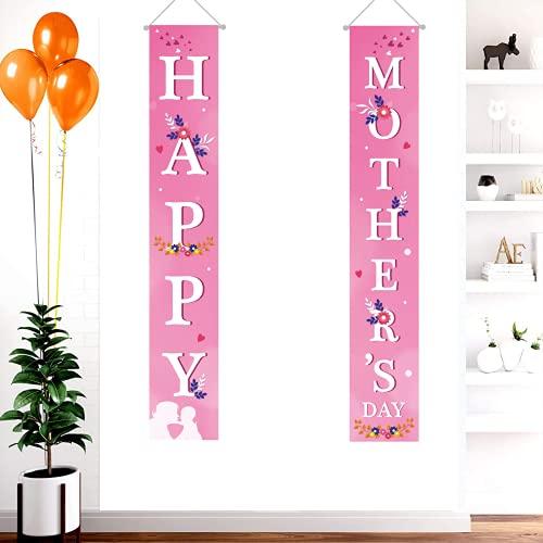 Bandera del Día de la Madre Feliz, corazón brillante impresión de letra de la puerta delantera para colgar banderines para decoración del hogar (rosa oscuro, talla única)