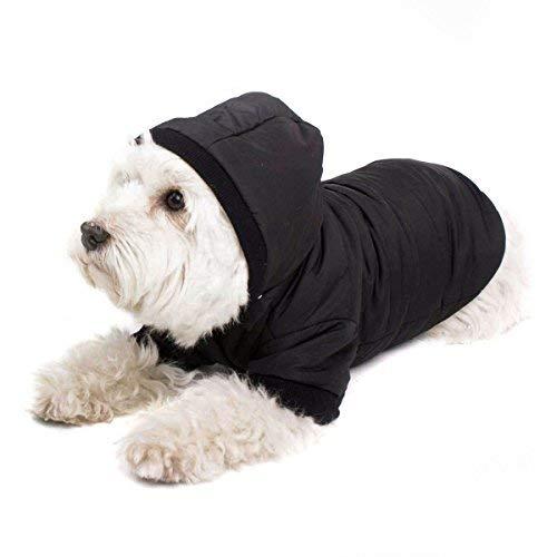 GOODS+GADGETS Schwarzer Hundemantel mit Kapuze; Schicke Hunde-Jacke Hundeanorak für Ihren Hund; Größe XS (26cm)