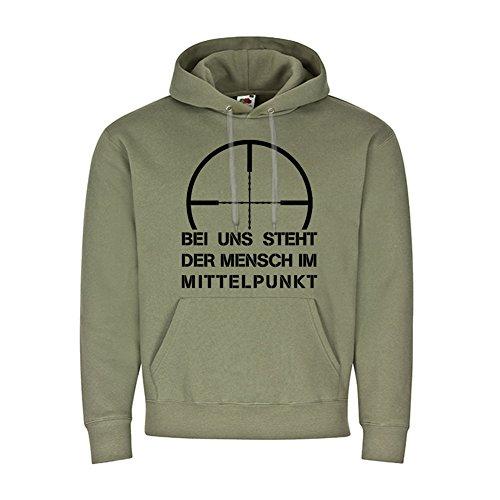 Copytec Bij ons staat de mens in het middelpunt Sniper scherpe schutting humor hoodie #19905