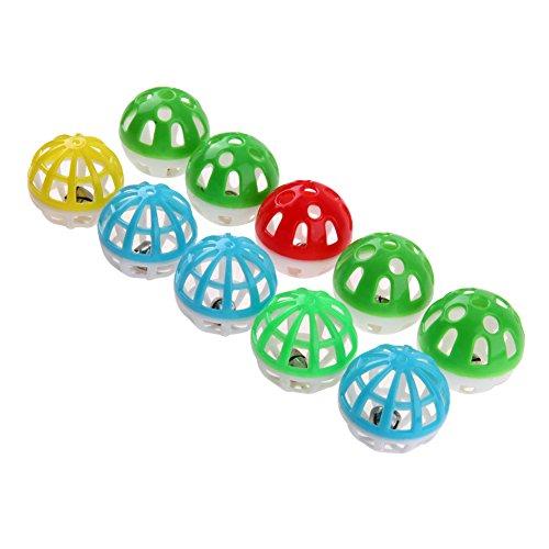 Everpert - Juego de pelotas de plástico huecas redondas para mascotas y gatos con cascabel pequeño, 10 unidades