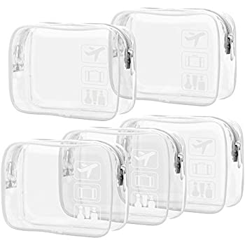 Clear Makeup Bag with Zipper Packism 5 Pack Beauty Clear Cosmetic Bag TSA Approved Toiletry Bag Travel Clear Toiletry Bag Quart Size Bag Carry on Airport Airline Compliant Bag White