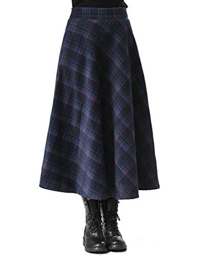 TEERFU Damen Vintage Winter Woll Herbst Tartan mit hoher Taille Flared röcke Lange Kleider