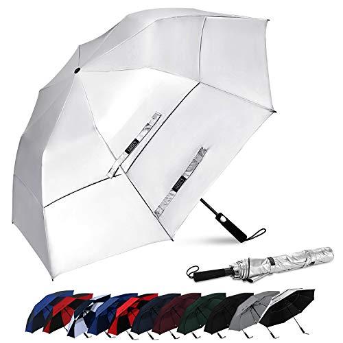 G4Free - Ombrello portatile da golf da 62 pollici, apertura automatica, grande, ventilato, doppio baldacchino, antivento, impermeabile, per sport (nero/argento)