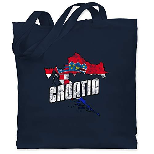 Shirtracer Fußball-Europameisterschaft 2020 - Croatia Umriss Vintage - Unisize - Navy Blau - Kroatien - WM101 - Stoffbeutel aus Baumwolle Jutebeutel lange Henkel
