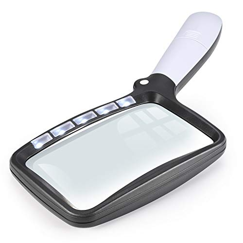 Lupa rectangular 2X con lupa de luz, grande plegable de mano, 5 LED, 2 modos de atenuación para leer libros de baja visión, páginas, revistas, periódicos, mapas, joyas.