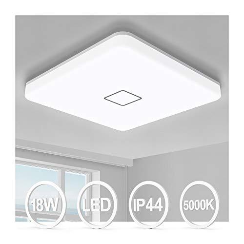 Airand - Lámpara de techo LED de 18 W, 10,6 pulgadas, cuadrada, 1800 lm, montaje empotrado, lámpara de techo impermeable IP44 de 5000...