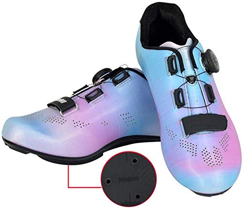 KUXUAN Zapatillas de Ciclismo de Carretera para Hombre - Zapatillas de Spinning con Zapatilla Peloton de Cala Compatible con SPD y Delta para Hombre,Blue-5.5UK=39EU=6.5US