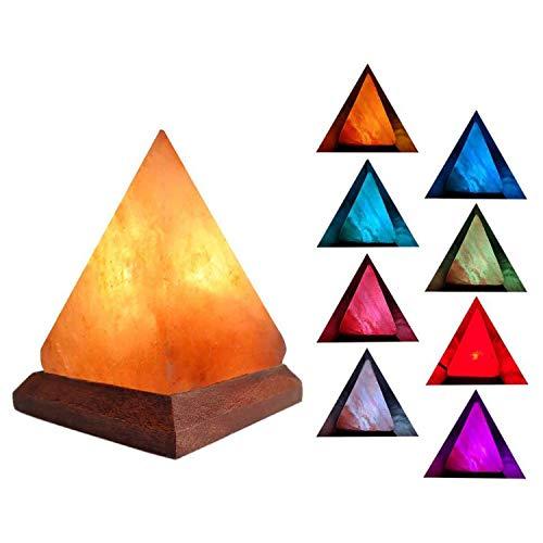 ASLUX Himalayan Salt Lamps Release Negative Ions USB Pink Rock Lamp 7- Color Sea Salt Lamp, Pyramidl Shape